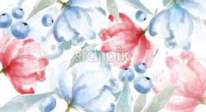 Blueberry and pink flowers watercolor banner frame Vector. delicate floral and berry decor. Invitation card, wedding ceremony, postcard, Women day greeting. Flow colorful drops. Beautiful pastel color - starpik