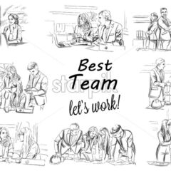 Business team working Vector storyboard. Business woman working on laptop. Team having a meeting Vector. Business projects. Storyboard digital template. Sketch style line art - starpik