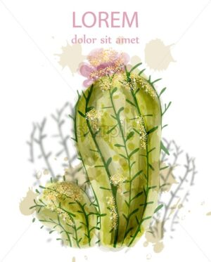 Cactus isolated watercolor. Summer exotic flower. Tropic collection painted style - starpik