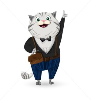 Cat dressed in suit Vector cartoon character. Smiling cat wearing a bow - starpik