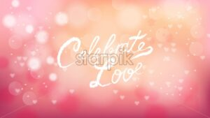 Celebrate love on Valentines day pink background Vector. Romantic banner. Invitation card or brochure. Pastel pink soft color - starpik