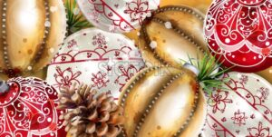 Christmas balls Vector decoration banner. Realistic ornamented Christmas baubles. colorful New Year decor gold and red - starpik