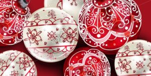 Christmas balls Vector decoration banner. Realistic ornamented Christmas baubles. colorful New Year decors red and white painted style - starpik