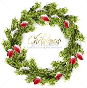Christmas fir wreath frame Vector. Green fir branches and red eglantine berries. Snowy details realistic 3d card - starpik