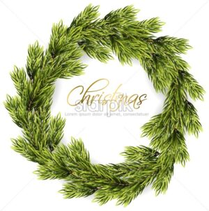 Christmas wreath frame Vector. Green fir branches. Winter holidays card realistic 3d illustration isolated on white - starpik