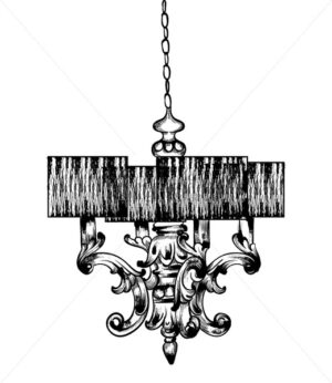Classic lamp Vector. French Luxury rich intricate ornaments. Engraved flourish decoration. Victorian Royal Style decor - starpik