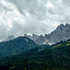 Cortina d'Ampezzo mountains at daylight. Cloudy sky. Italy beauties
