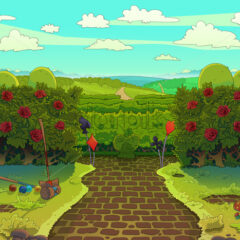 Croquet court with red roses, green garden with a paved road illustration. Raster image drawn in a cartoon style.