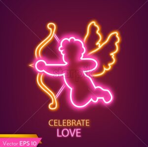 Cupid card neon light Vector realistic. Valentine day cupid lovely symbol - starpik