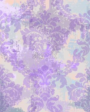 Damask texture background Vector. Floral ornament pattern decoration with old stains effect. Victorian engraved retro design. Watercolor stains. Purple color - starpik
