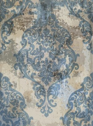 Damask texture grunge background Vector. Floral ornament pattern decoration with old stains effect. Victorian engraved retro design. Blue color - starpik