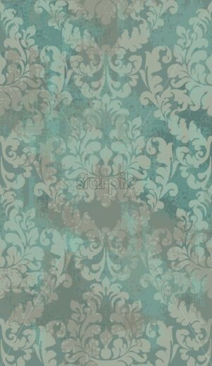 Damask texture grunge background Vector. Floral ornament pattern decoration with old stains effect. Victorian engraved retro design. Green color - starpik