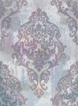 Damask texture grunge background Vector. Floral ornament pattern decoration with old stains effect. Victorian engraved retro design. Purple color - starpik