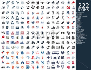 Digital vector 222 simple icons set collection flat style - starpik