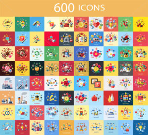Digital vector 600 color icons set collection flat style - starpik
