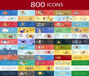 Digital vector 800 color icons set collection flat style - starpik