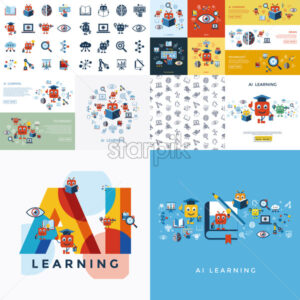 Digital vector artificial intelligence self learning icon set infographics - starpik