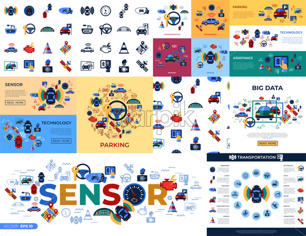 Digital vector assisted transportation and parking sensing system and wireless communication network simple icons set collection flat style infographics - starpik