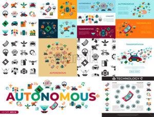 Digital vector autonomous transportation technology icons set infographics - starpik