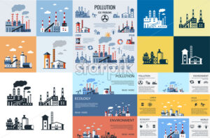 Digital vector blue factory pollution icons with drawn simple line art info graphic, presentation with plant, smoke, environment and energy elements around promo template, flat style - starpik