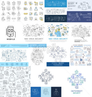 Digital vector blue internet security data protection icons set drawn simple line art info graphic poster, hacker user bug vulnerability mobile email trojan malware bank cloud spy mask, flat - starpik