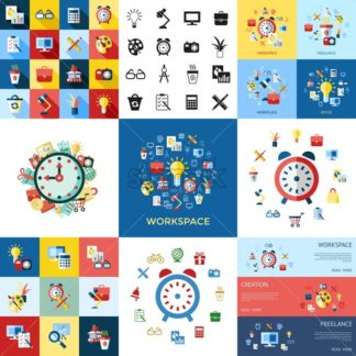 Digital vector blue red work space icons set with drawn simple line art info graphic, presentation with clock, calculator and office supplies elements around promo template, flat style - starpik