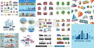 Digital vector blue red yellow city transport icons set with drawn simple line art info graphic, presentation with car, tram and taxi elements around promo template, flat style - starpik