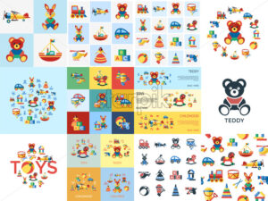 Digital vector blue yellow children toys icons with drawn simple line art info graphic, presentation with bear, plane and bunny elements around promo template, flat - starpik