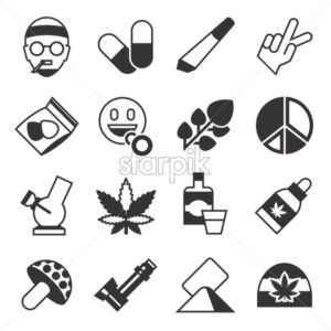 Digital vector cannabis healthy medicine icons set, flat style infographics - starpik