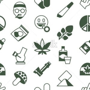 Digital vector cannabis healthy medicine icons set, flat style infographics seamless pattern - starpik