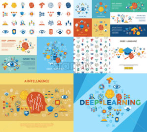 Digital vector deep structured learning and artificial intelligence icon set - starpik