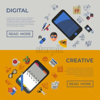 Digital vector freelance creative workplace icons set, flat style infographics - starpik