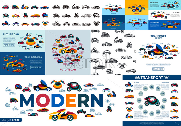 Digital vector future car concept simple icons set collection flat style infographics - starpik