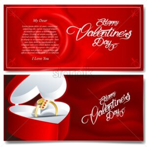 Digital vector happy valentines day realistic red heart and golden ring coupun with roses - starpik