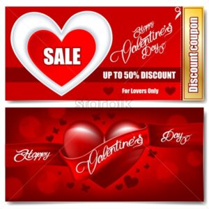 Digital vector happy valentines day realistic red heart with ribbon and sparkle sale discount coupon - starpik