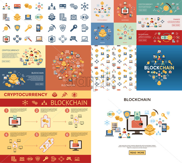 Digital vector line icons set blockchain pack illustration with elements for cryptocurrency - starpik