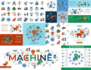 Digital vector machine automation and artificial intelligence robots simple icons set collection flat style infographics - starpik
