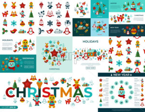 Digital vector merry christmas and new year simple icons set collection flat style infographics - starpik