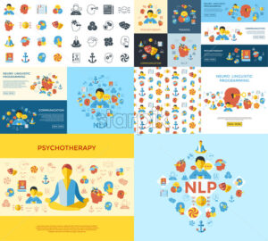 Digital vector neuro linguistic programming icon set - starpik