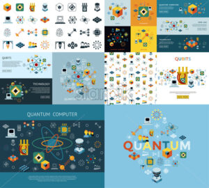 Digital vector quantum computing and qubits icon set pack illustration, simple line flat style - starpik