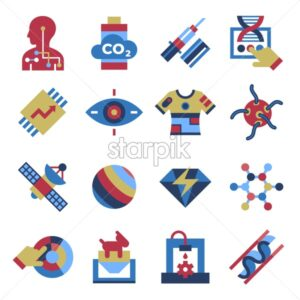 Digital vector quantum things to come technology icons set, flat style infographics - starpik