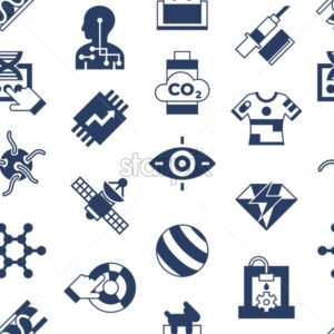 Digital vector quantum things to come technology icons set, flat style infographics seamless pattern - starpik