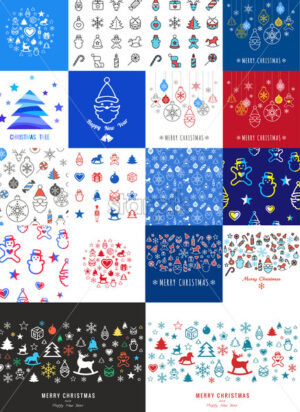 Digital vector red blue happy new year merry christmas icons with drawn simple line art info graphic, presentation with toys and gifts elements around promo template, flat style - starpik
