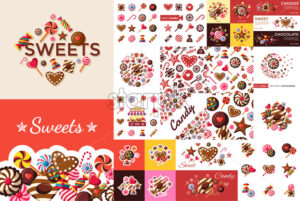 Digital vector red brown sweet candies icons with drawn simple line art info graphic, presentation with sweety, chocolate and cookies elements around promo template, flat style - starpik