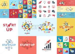 Digital vector red startup icons with drawn simple line art info graphic, presentation with rocket, project and business elements around promo template, flat style - starpik
