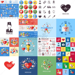 Digital vector red yellow blue medical icons with drawn simple line art info graphic, ambulance tooth pills nurse heart tubes syringe medicine dropper first aid thermometer, flat style - starpik
