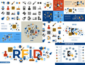 Digital vector rfid radio frequency identification chip simple icons set collection flat style infographics - starpik