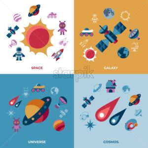 Digital vector space galaxy and universe icons set, flat style infographics - starpik