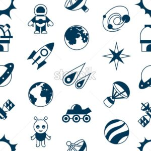 Digital vector space galaxy and universe icons set, flat style infographics seamless pattern - starpik