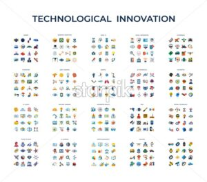 Digital vector technological innovation icons set, flat style infographics - starpik